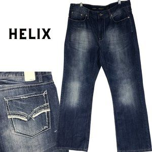 HELIX Dark Wash Relaxed Boot Cut Jeans 36 x 32